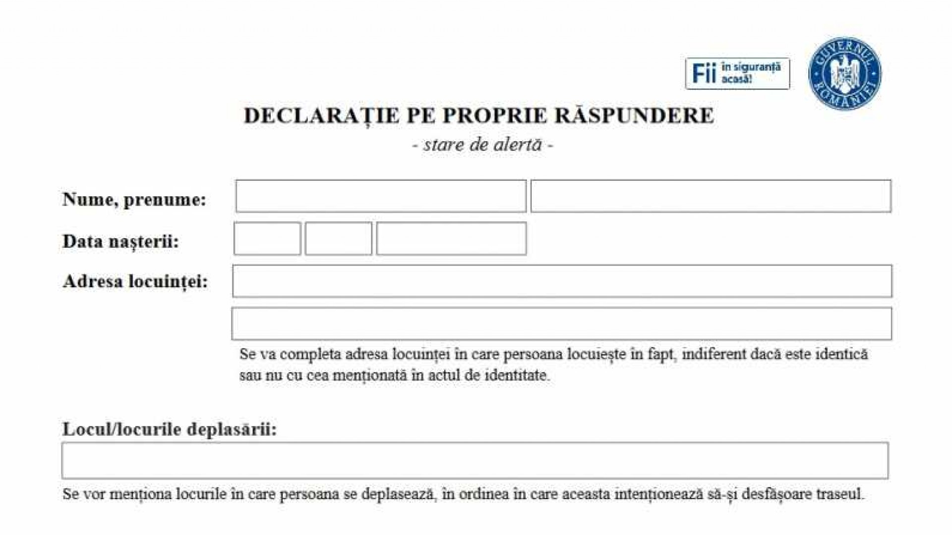 Jandarmeria Română: Declaraţia pe propria răspundere necesară la justificarea deplasării între localităţi poate fi scrisă şi de mână