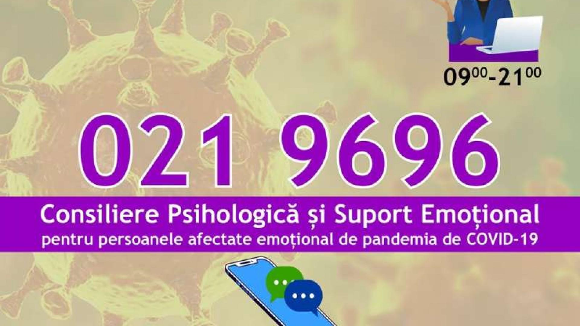 Linie telefonică de asistenţă psihologică pentru persoanele afectate de epidemia de coronavirus